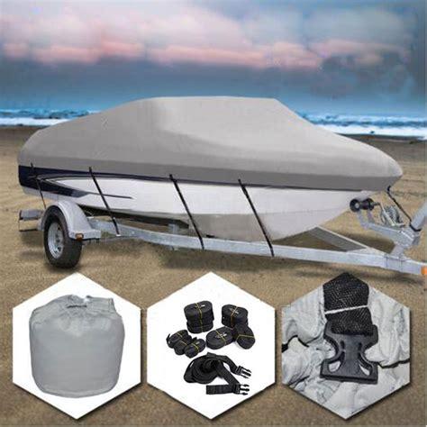 14 16ft 600d Heavy Duty Waterproof Trailable Fish Ski Boat Cover V Hull Gray Ebay Boat Cover Templates