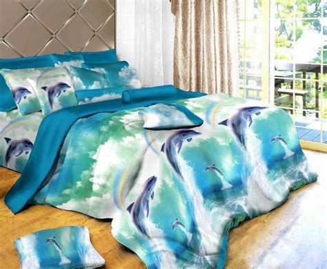 dolphin oil painting bedding sets sheet 4pc bedding set