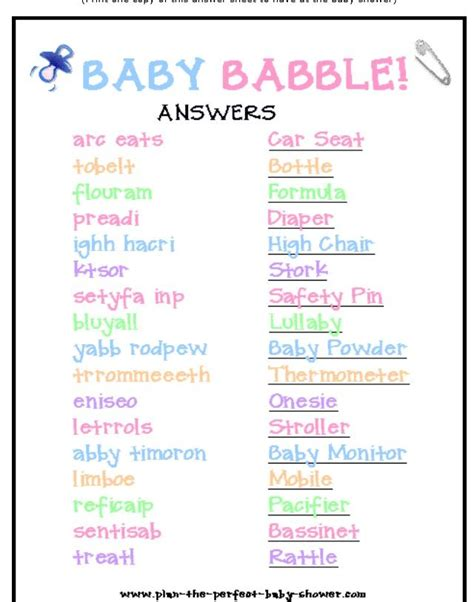 Baby Babble Shower by Baby Babble W Answer Baby Kid Stuff Words