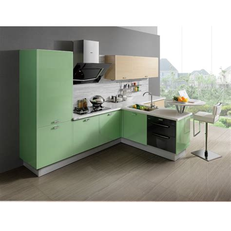 l shape green kitchen cabinet furniture with island op12
