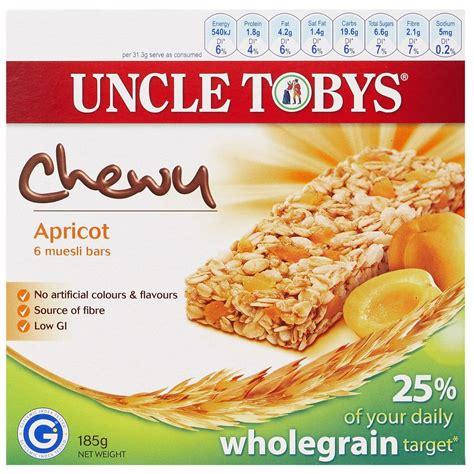 Tobys Muesli Bar tobys chewy apricot muesli bars 6 pack officeworks