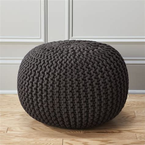 knitted poufs ottomans knitted graphite pouf cb2