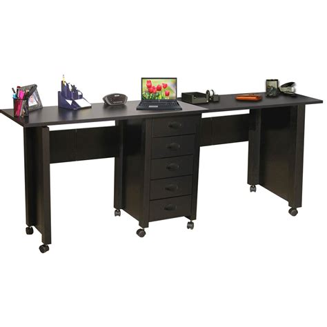 Mobile Office Desk Venture Horizon Folding Mobile Desk 71 X 18 X 29 Black