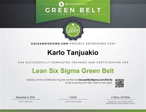Sample Resume Maintenance by Lean Six Sigma Green Belt Training Amp Certification