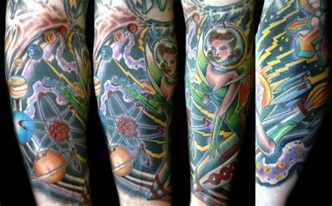 space themed tattoo prince space sleeve tattoos