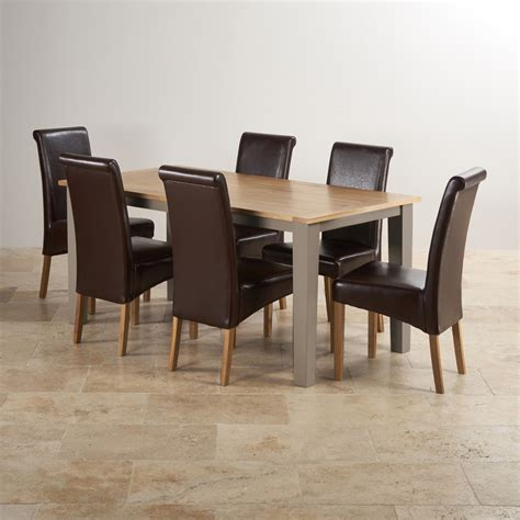 Painted Oak Dining Table And Chairs St Ives Dining Set In Grey Painted Oak Table 6 Leather Chairs