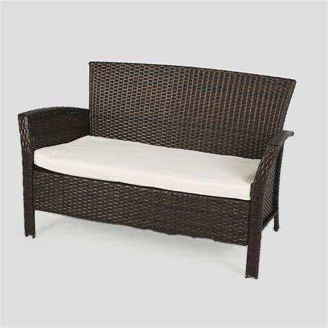 black rattan bench greenfingers alfresco rattan lounge set blackbrown on sale