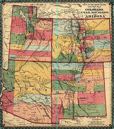 map of texas new mexico and colorado quot colorado utah new mexico and arizona quot by warner and beers ca 1874