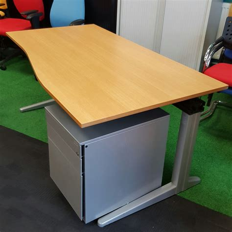 beech wave desk city used office furniture