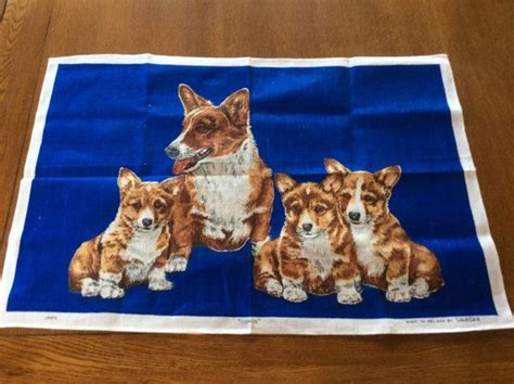 The Queens Corgis Vintage Irish Linen By Ulster Corgis The Queens Dogs