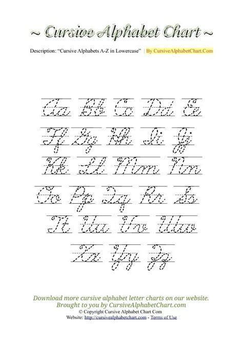 printable a z alphabet chart lowercase cursive letters a z sle letter template
