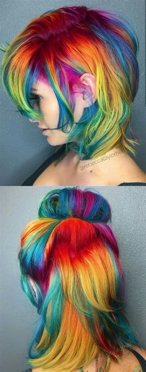 rainbow hair colors best 20 rainbow dyed hair ideas on unicorn
