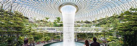 jewel changi airport waterfall  wet inhabitat green