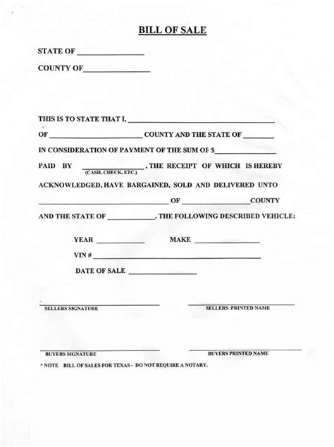 download bill of sale forms