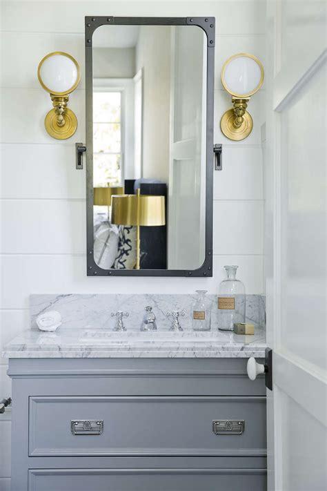 Under Bathroom Sink Storage Ideas by Gray And Gold Bathroom Design Transitional Bathroom