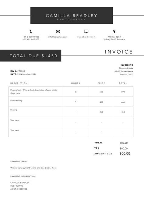 Free Receipt Template Psd by Photography Invoice Template Invoice Design Receipt