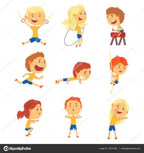 imagenes animadas haciendo deporte set ni 241 os lindos sonrientes haciendo deportes ni 241 os