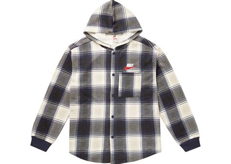 Hooded Plaid Sweatshirt supreme nike plaid hooded sweatshirt navy fall winter 2018
