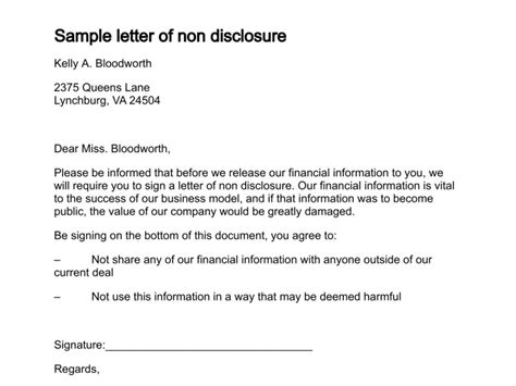 Financial Disclosure Letter Letter Of Non Disclosure