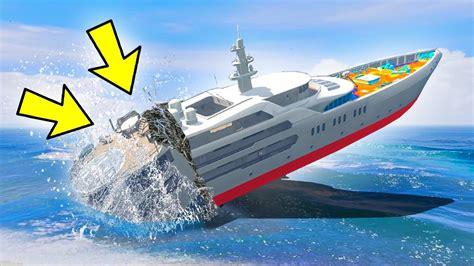 sinking boat gta 5 can 100 tanks sink the yacht in gta 5 youtube