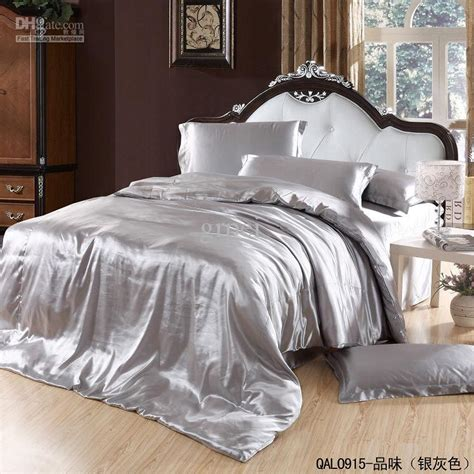 grey satin comforter grey silver silk satin bedding set king size queen quilt