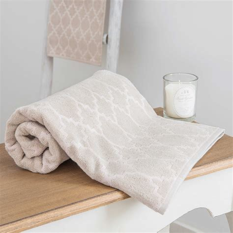 patterned towels for bathroom nestor patterned beige bath towel 30 x 50 cm maisons du