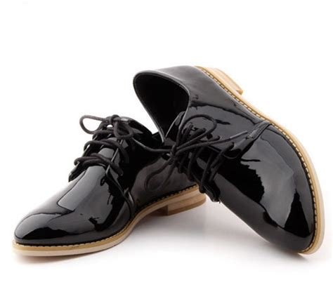 womens black oxford shoes 2015 new genuine patent leather platform oxfords