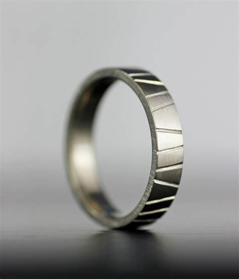 s modern wedding band unique textured simple