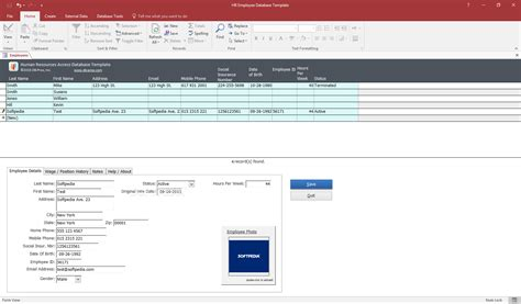 ms access employee database template hr employee database template