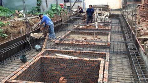 construction of a house installing reinforced concrete of foundation house house