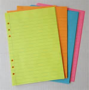 colored lined paper set of 40 colored lined 20 lb paper inserts for by