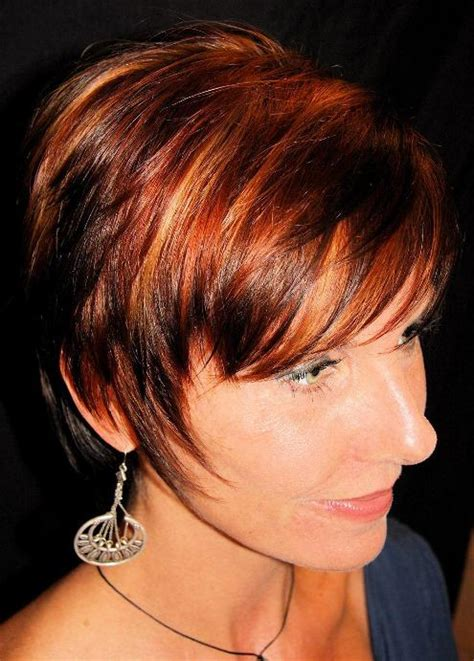 pictuted of red highlights on dark hair with spiky cut new hair red hair highlights
