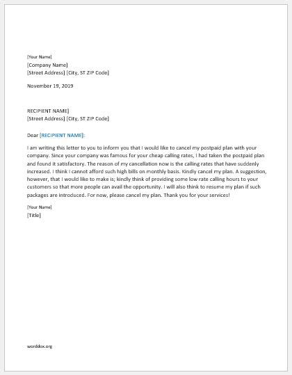cancellation letter for postpaid connection 16 cancellation letter templates for all situations word