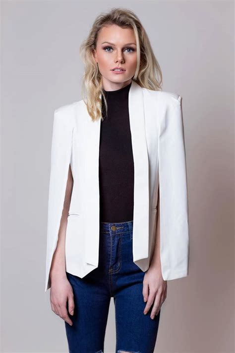 chic cape jacket cape blazer white cape jacket cape coat office jacket trendy jacket