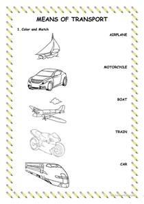 means of transport worksheet free esl printable