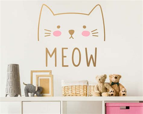 Wall Stickers For Kids cat wall decal cute cat decal kids wall decal nursery