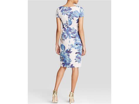 Sleeve Floral Sheath Dress lyst papell dress sleeve floral sheath