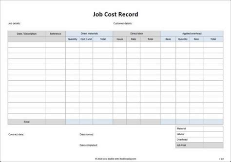 job cost sheet template excel   aashe