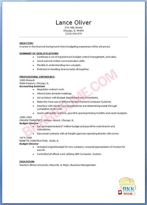 Resume Format Accountant Assistant Sle Resume Accounting Assistant Sle Resume