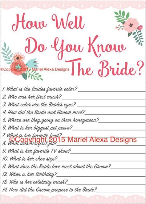 free printable unique bridal shower games bridal shower game how well do you know the bride fun