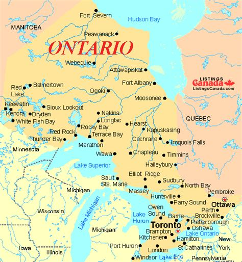 map of canada with all cities map of ontario cities search maps