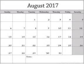 august calendar template august 2017 calendar template