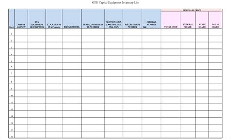 5 equipment inventory template procedure template sle
