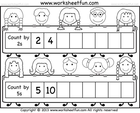 free printable math worksheets counting by 5 counting by 2 free printable worksheets grade one math