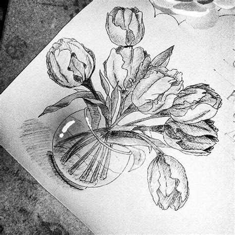 doodle daun 15 gambar sketsa bunga dari pensil yang mudah dibuat