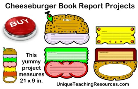 First Grade Book Report Templates cheeseburger book report projects templates printable