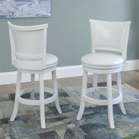 And White Bar Stools by Corliving Woodgrove 24 In White Wash Counter Height