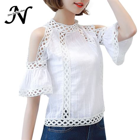Hollow Top White Pink aliexpress buy cold shoulder lace blouse white fashion 2017 hollow out summer tops korean