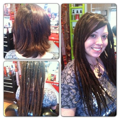 pre dreaded hair extensions dreadlock extensions before and after pin it like before long hairstyles