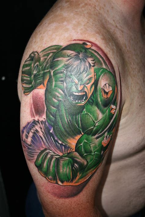 incredible hulk tattoo designs smash on sleeve